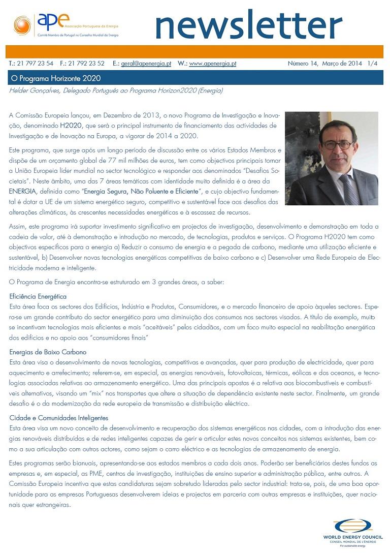 Newsletter APE numero 14_Março 2014