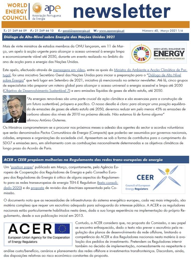 capa newsletter APE numero 40 março 2021