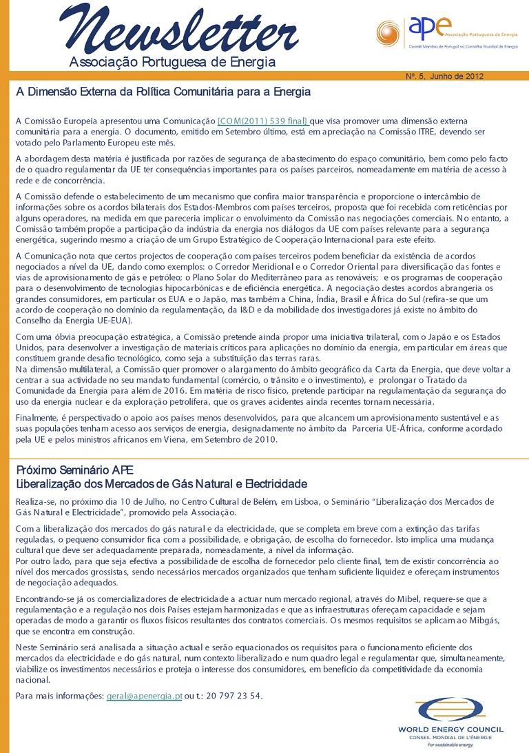 newsletter APE numero 5 junho 2012